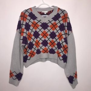 NWT Topshop Cropped Argyle Sweater